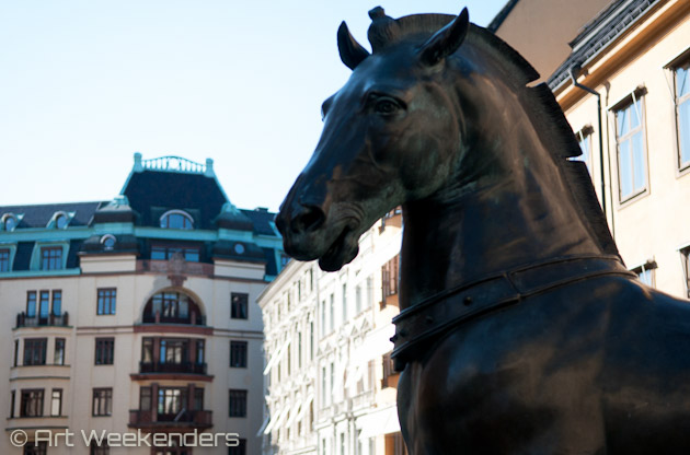 Horse statue in Gamla Stan, Stockholm.