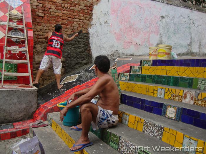Work on Selarón's stairs - 2014-Brazil-Selaron-Stairs-WMAW (5)