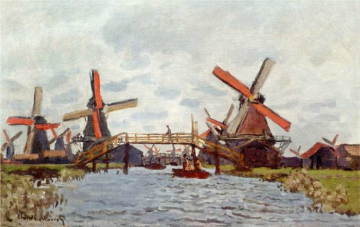 Monet_windmills-near-zaandam-windmills at zaanse schans