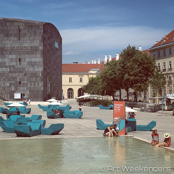 A summer day in the Museumquartier in Vienna Austria